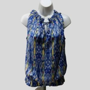 Violet & Claire print top M ruffle sleeveless